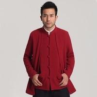 New Arrival Burgundy Cotton Linen Casual Jacket Chinese Style Double Coat Long Sleeve Kung Fu Wu Shu Clothing M XXXL MQ001