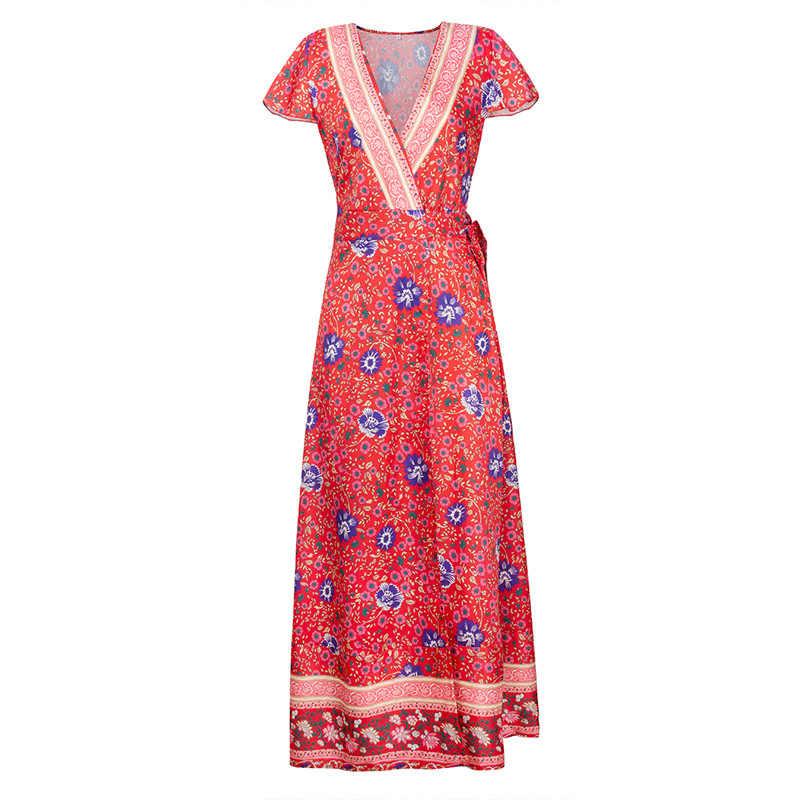 Летнее женское платье 2019, повседневное пляжное бальное платье в стиле бохо с цветочным принтом, платья макси, элегантные сексуальные длинные вечерние платья с глубоким v-образным вырезом и разрезом