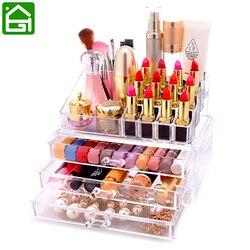 Organizador de cosméticos de acrílico transparente caja de almacenamiento de maquillaje cajón Escritorio de baño cepillo de maquillaje soporte de lápiz labial