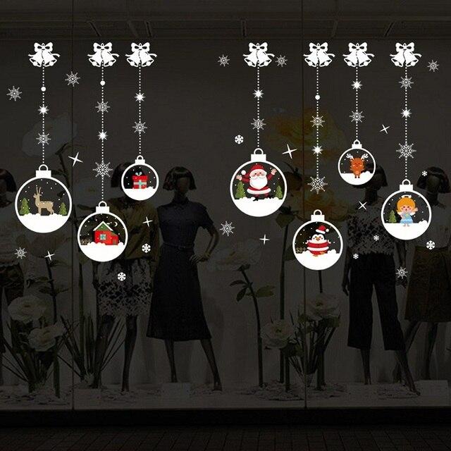 Висячий снеговик подарок Рождественский наклейки на окна из ПВХ Xmas домашний настенный задний грунт наклейки рождественские украшения для дома