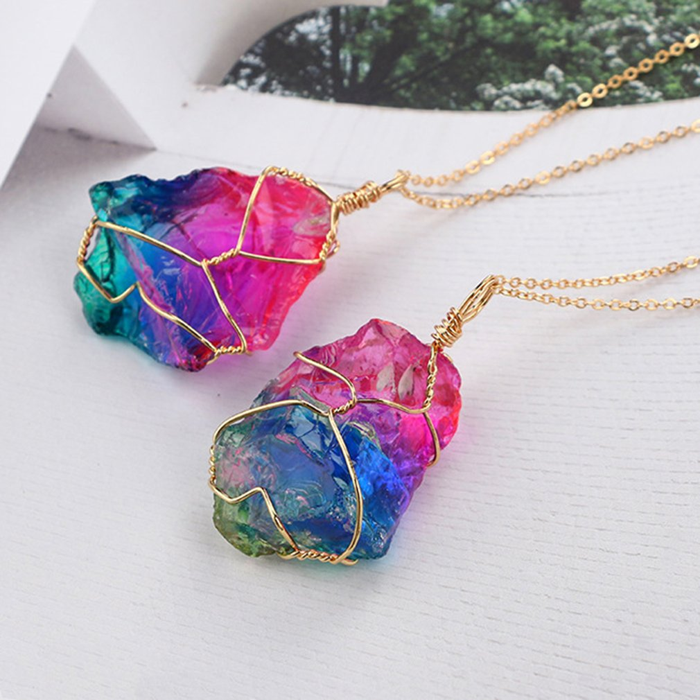 Rainbow Natural Stone Link Chain Pendant Necklace Random