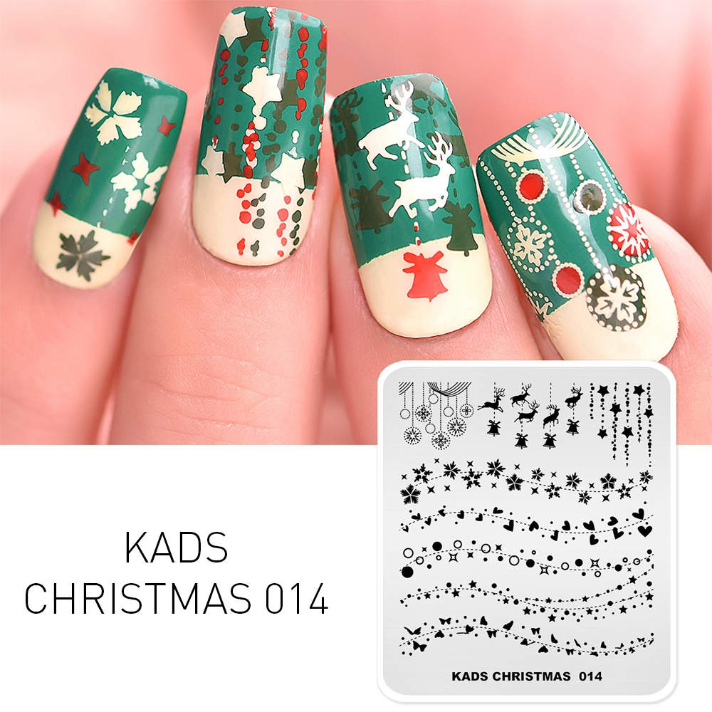 Christmas Nail Art Stamping Plate Snow Butterfly Pattern Manicure Image Template Festival New Year Nails Stencil