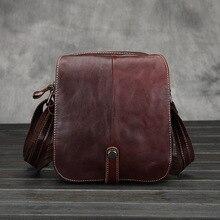 Business Men Genuine Leather Bag Natural Cowskin Men Messenger Bags Vintage Men's Cowhide Shoulder Crossbody Bag