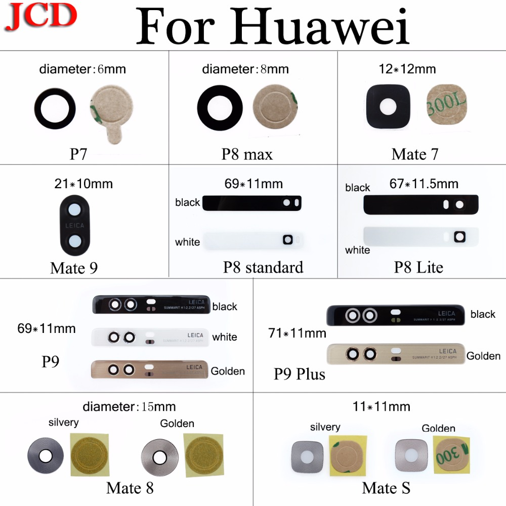 JCD Rear Back Camera Glass Lens Cover For Huawei Honor P8 Lite P7 P8 Max P9 P9 Plus Mate 7 8 S Replacement Repair Spare Parts