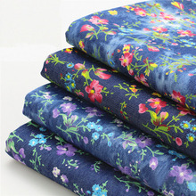145*50cm 1pc Fasion Denim Fabric 100%Cotton Denim Fabrics Floral Print Thin Denim Fabric Sewing Material Diy Women Girl Dress