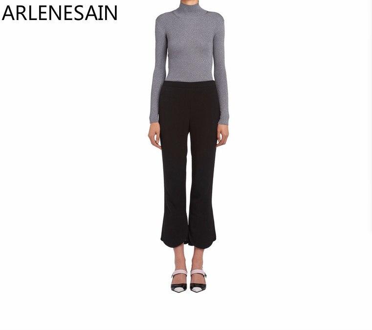 Noir Personnalisé Mode Évasée Arlenesain Pantalon Casual Coton Femmes lKT3F1Jc