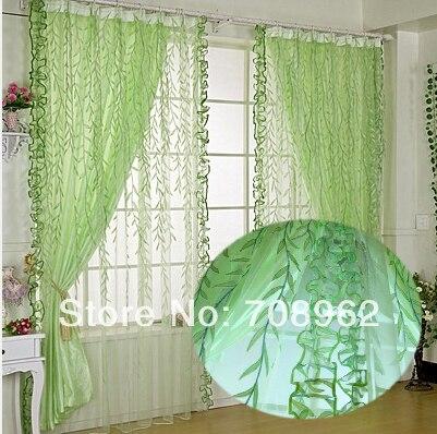 Gentil New Green Weeping Willow Design Sheer Screens+semi Blackout Cloth Drapes  190*250