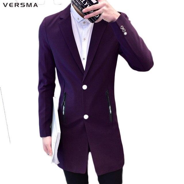 953423e8e440 VERSMA Purple Red Men Long Blazer Suit Jacket Men BF Casual Fashion Slim  Fit Latest Coat Design Stylish Blazers Suits Party Wear
