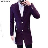 VERSMA Purple Red Men Long Blazer Suit Jacket Men Casual Fashion Slim Fit Latest Coat Design