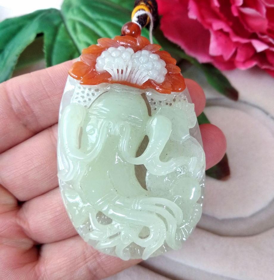 Natural Exquisite Shandong Xiuyan Translucent Dark Green Jade Hand Carved Jadite Panax Pendant Ginseng Amulet Necklace