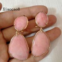 Blue Pink Nature Semi-precious Stone Dangle Earrings Womens Vintage Luxury Earrings Jewelry 2017 Newest Long Drop Earring