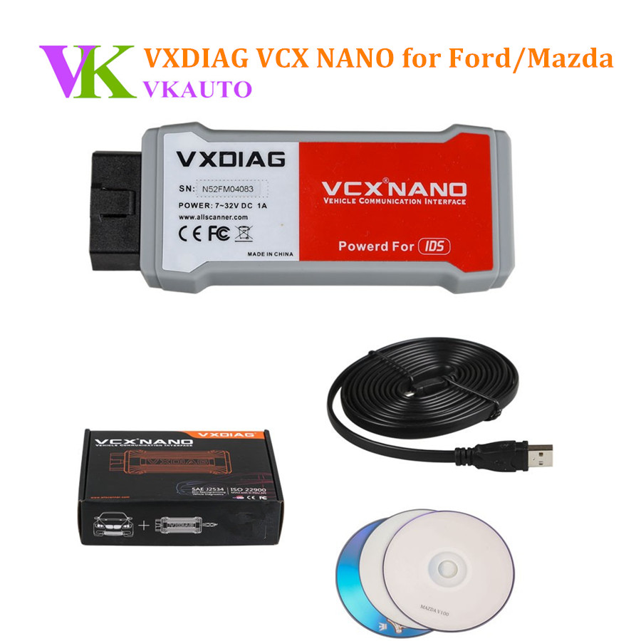 New VXDIAG VCX NANO for FD/MA 2 in 1 IDS V100.01 with Multi Language Diagnostic Tool Free Shipping