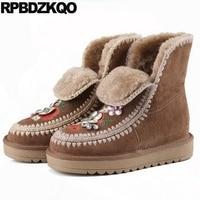 Futra Zima Ukryte Luksusowe Haftowane Rhinestone Poślizgu Na Buty Snow Boots Kobiety Kostki Brązowy Haft Klin Kobiet Nowe Mody