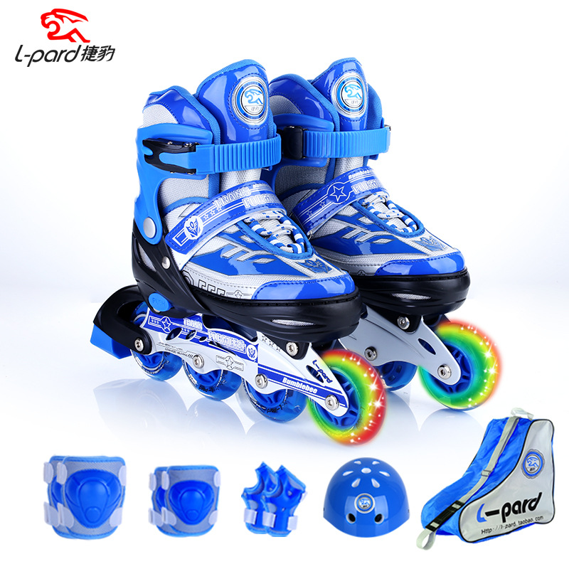 Single Flashing wheel Roller Skate Shoes Protective Suit For Kids Inline Daily Street Brush Skating Unisex Adjustable shoes IA04 slalom recommend adult inline skate shoes for young man girl daily street brush skating roller skates for seba cityrun fsk