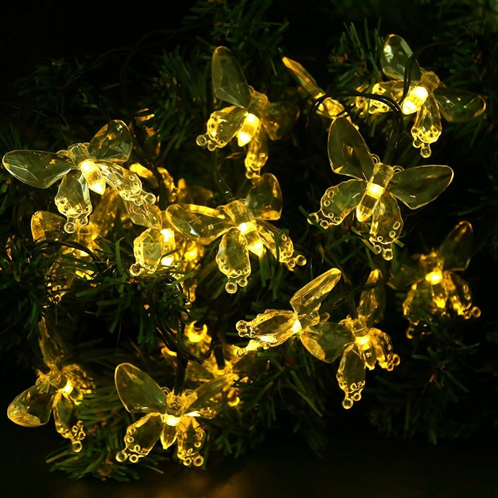 LumiParty Garland Led Christmas Outdoor Lighting Solar Fairy Lights  Butterfly Solar Christmas Lights For Garden Christmas Tree