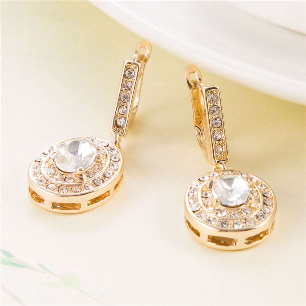 3.5cm Gold Crystal Bridesmaids Earrings Wedding Jewellery Luxurious ...