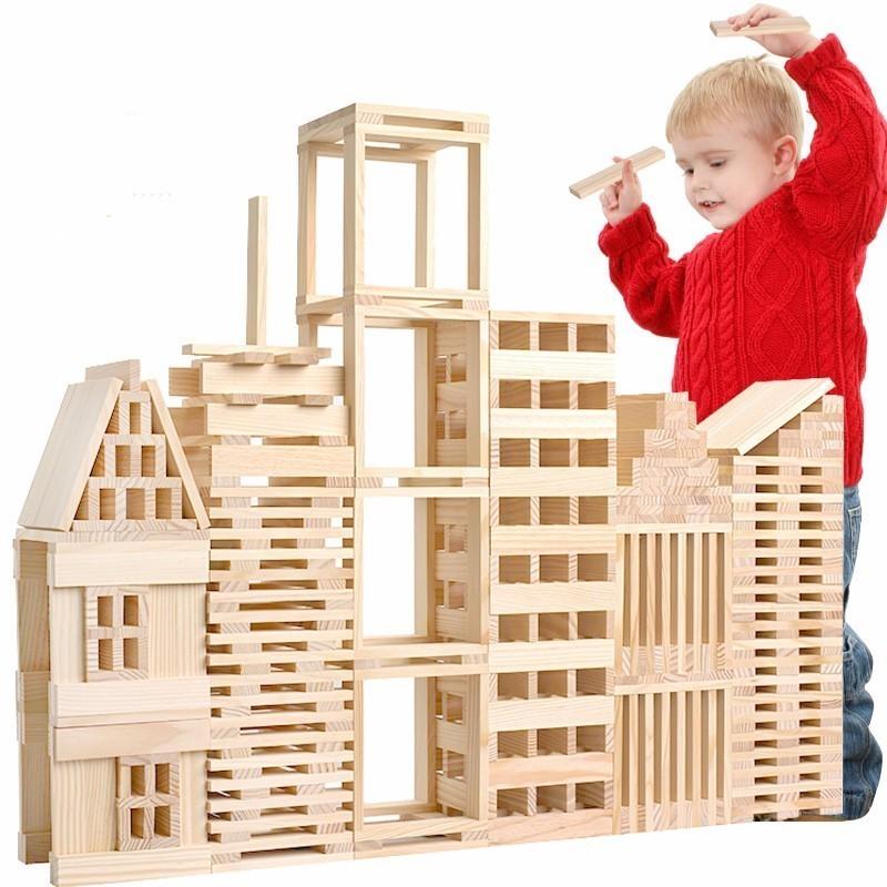 Montessori Enfants Jouet Bébé Jenga Bois 100 pcs Blocs Building Learning Éducation Préscolaire Formation Brinquedos Juguets