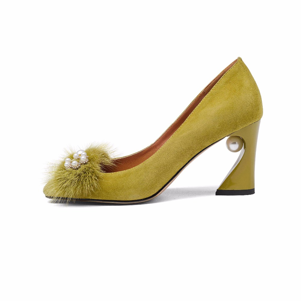 2019 mode große größe büro dame schuhe perle flach high heels frauen pumps elegante lässige handmade party hochzeit schuhe L39-in Damenpumps aus Schuhe bei  Gruppe 3