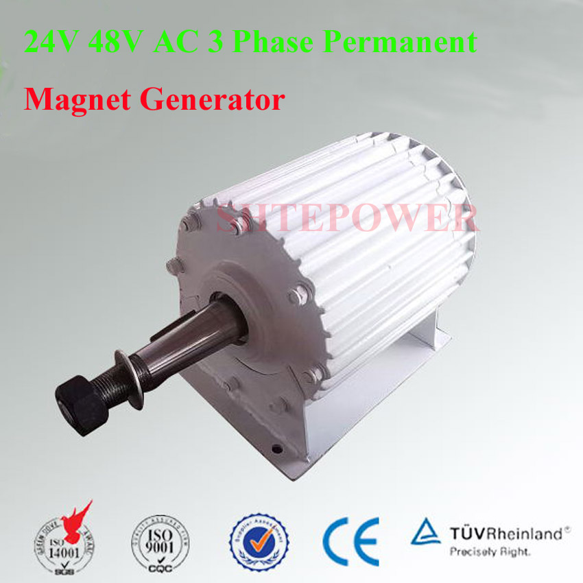 3 Phase Permanent Magnet AC 24V 48V Generator 1000W 1KW for Vertical or Horizontal wind turbines 93% efficiency