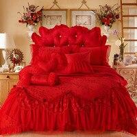 Красные Свадебные жаккардовая Кружево принцессы Постельное белье Роскошные Постельное бельё Queen King Size постельное белье Простыни Boho Набор п