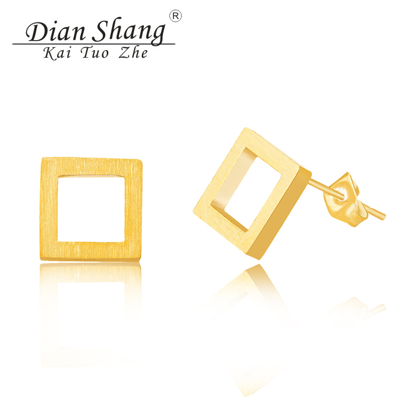 DIANSHANGKAITUOZHE 10Pair Stainless Steel Square Stud Earrings For Women Jewelry Gold Silver Ear Jacket Men Earring