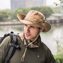 Fisherman Hat Boonie Outdoor Hunting Fishing Wide Brim Military Sun Hats Unisex Wild Men Women Solid Drawstring Flat Cap New