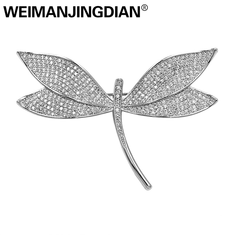 WEIMANJINGDIAN Sparkling Pink / Blue / Green Cubic Zirconia CZ Crystal Pave Dragonfly Brooch Pins for Women in Assorted Colors assorted colors tagboard 12 x 9 blue canary green orange pink 100 pack