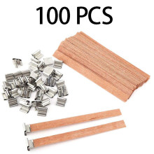 100Pcs 13X130mm Natural Wood Candle Wicks with Sustainer Tab DIY Candle Making Supplies Soy Parffin Wax Wick for Family(China)