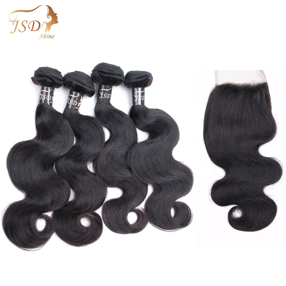 JSDShine Hair Indian Body Wave Bundles With Closure Human Hair 4*4 Free Part Lace Closure 4Bundles Non Remy Hair Free Shipping