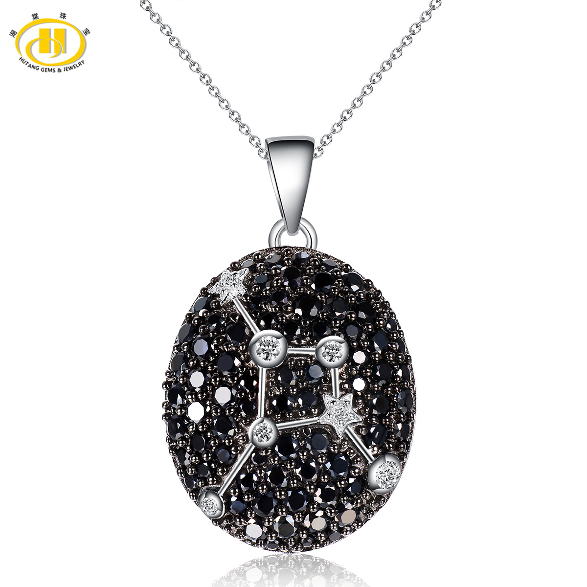 Hutang Cancer Constellation Black Spinel & White Topaz Pendant Solid 925 Sterling Silver Necklace Free Chain For Boy And Girl growth factors and their receptors in cell differentiation cancer and cancer therapy