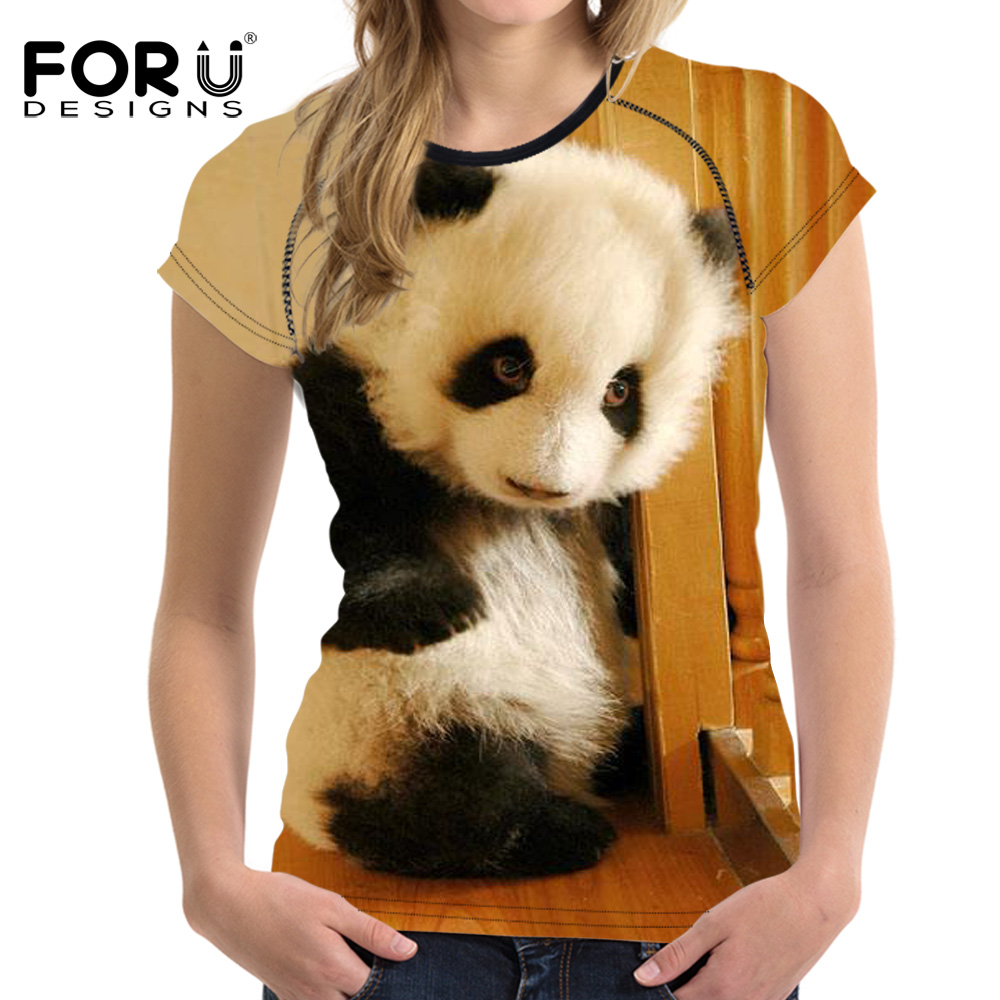 FORUDESIGNS 3D Cute Animal Panda Printing T Shirt For Women 2017 Female Comfort Short Sleeved Tee Shirt Breathable Clothes Women