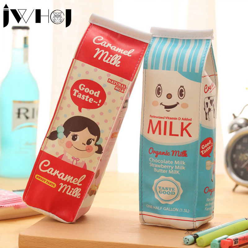 Novelty milk girl pencil case PU leather pencil bag stationery estojo escolar school supplies Students gift Free shipping