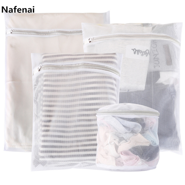Nafenai 9 Sizes Zippered Foldable Nylon Laundry Bag Bra Socks Underwear Clothes Washing Machine Protection Net Mesh Bags