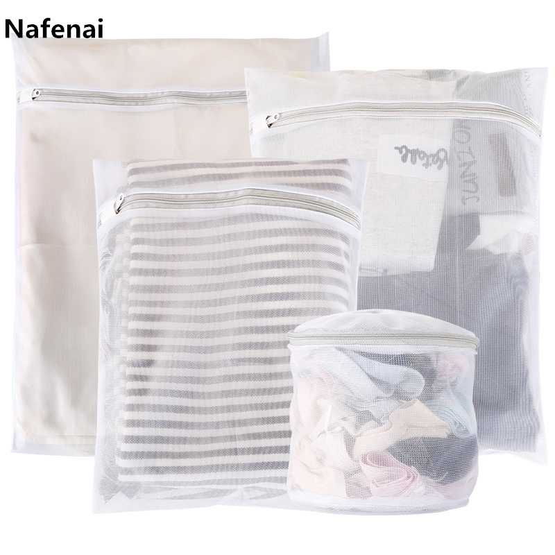 Nafenai 9 Sizes Zippered Foldable Nylon Laundry Bag Bra Socks Underwear Clothes Washing Machine Protection Net Mesh Bags
