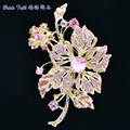 Rhinestone Brooches Vintage Gold Plated Orchid Flower Brooch Pins Austrian Crystal Women Jewelry Gifts Brand Free Shipping 6367