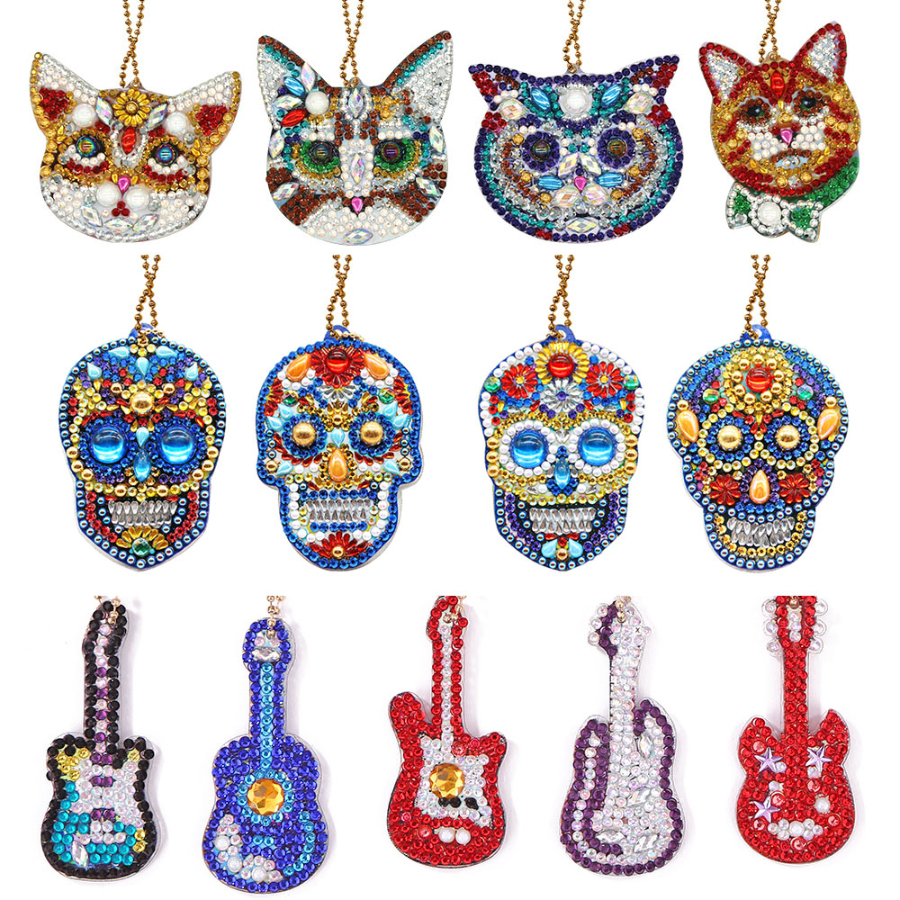 4pcs 5D DIY Diamond Painting Keychain Rhinestone Embroidery Pendant DIY Craft Kits Mosaic Cross Stitch Diamond Painting