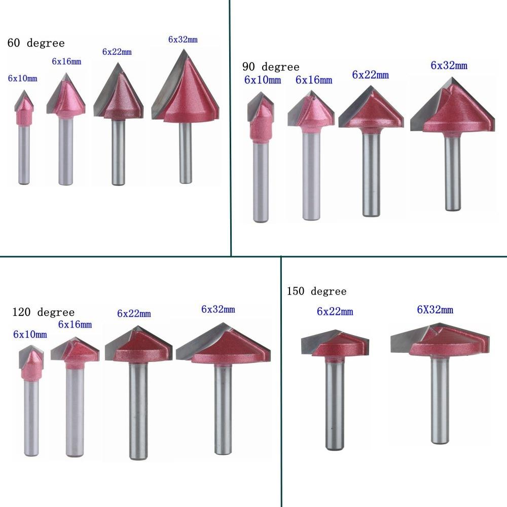 5Pcs 120Degree 6x16mm V-bit CNC Solid Carbide End Mill 3D Woodworking  MDF Cutte
