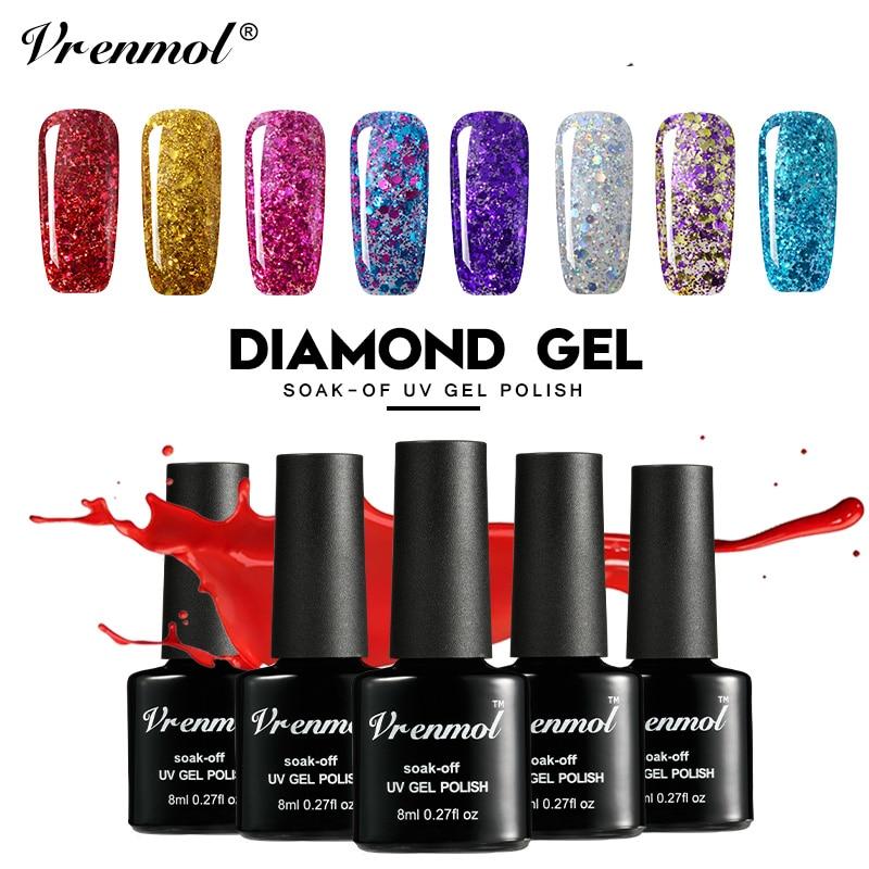 Vrenmol Gelpolish Hybrid Diamond Glitter Gel esmalte de uñas UV Nail - Arte de uñas