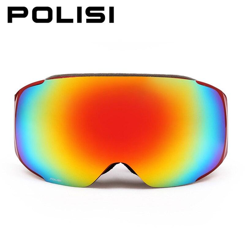 POLISI Winter Skiing Goggles Men Women Replaceable Night and Daytime Lens Eyewear UV400 Anti Fog Snowboard