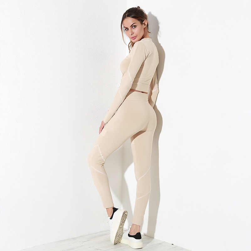 NRAHBSQT сетки шить шнурок Женский спортивный костюм для бега одежда с длинными рукавами + узкие брюки спортивный костюм для женщин бег спортивная RS033