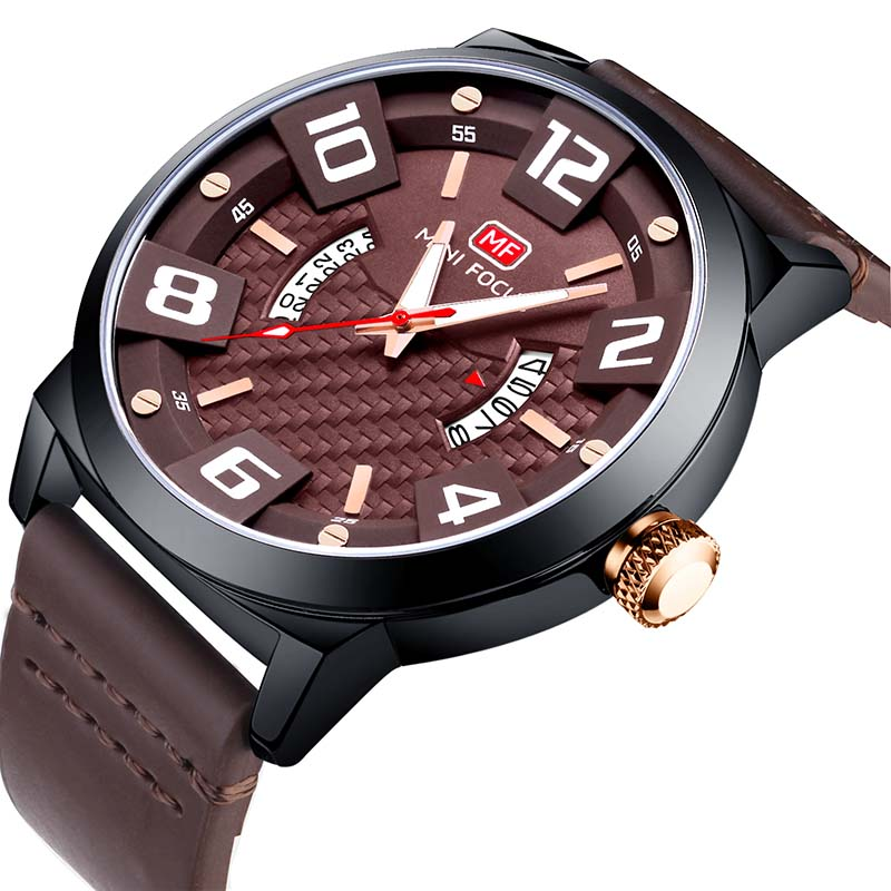 MINI FOCUS Top Brand Men Military Sports Watches Men's Quartz Luxury Leather Strap Wrist Watch Male Date Clock relogio masculino megir men s military sports watches fashion luxury top brand quartz wrist watch men leather strap clock male relogio masculino