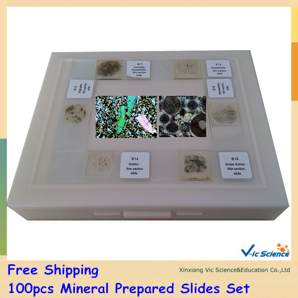 Free Shipping 100pcs Mineral Prepared Slides Set high quantity microscope embryology prepared slides
