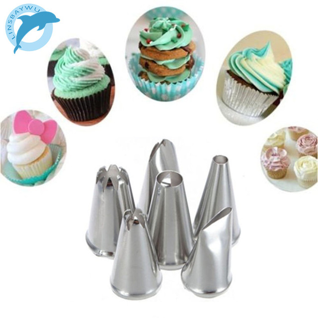 LINSBAYWU 6pcs/set DIY Stainless Steel Icing Piping Nozzles Pastry Tips Fondant Cup Cake Baking Free Shipping