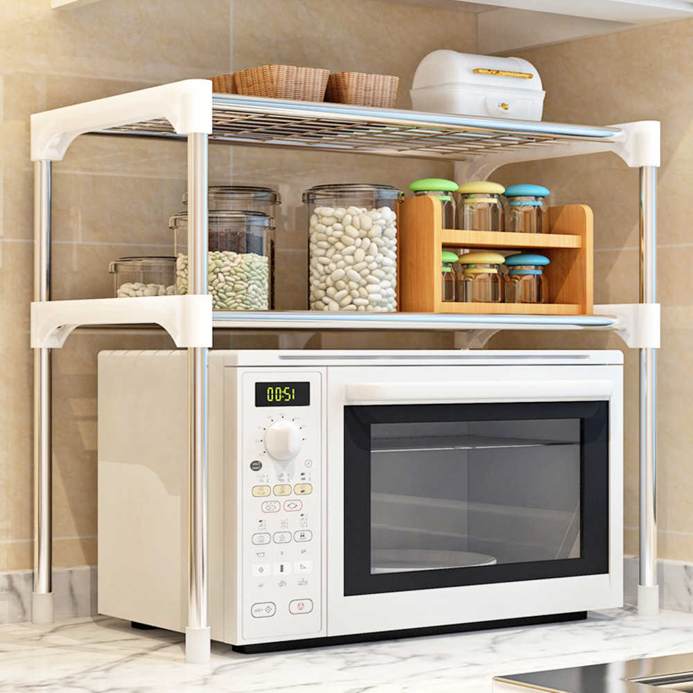 1pcs Stainless Steel Adjustable Multifunctional Microwave Oven Shelf Rack Standing Type Double Kitchen Storage Holders