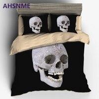 AHSNME Esqueleto Cráneo de Diamantes de Lujo juego de Cama de Lujo Australia Europa king Size Cover Set set super suave 3D de cama Estampada conjunto