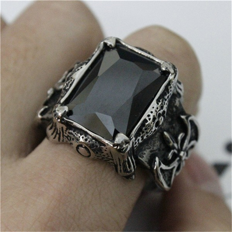 Support Dropship Huge Black Red Purple Stone Cool Ring 316L Stainless Steel  Jewelry Fashion Ring