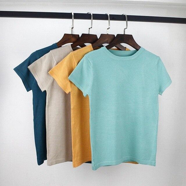Gigogogou Высококачественная трикотажная женская футболка хлопковая Летняя Повседневная футболка с коротким рукавом с круглым вырезом Базовая женская футболка