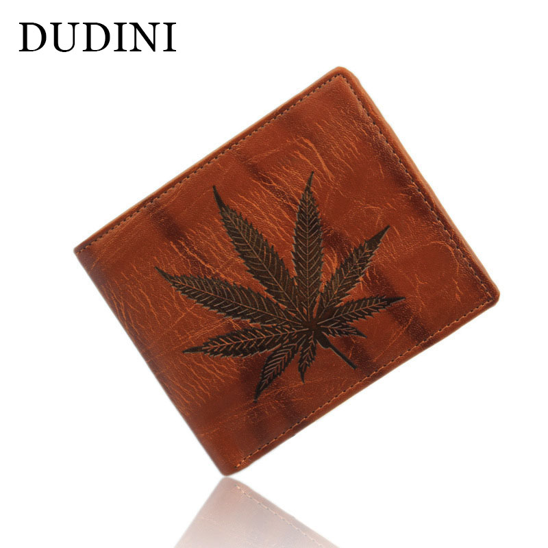 DUDINI Creative Maple Leaf Men Wallets Fashion Small Leather Wallet Hot Sale Dollar Purse Designer Short Card Holder For Men hot sale fashion designer 2 style colors quality men wallets leather card holder dollar price purse wallet for men free shipping