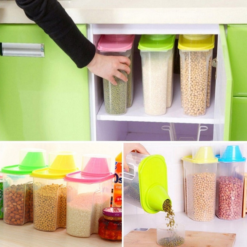 Whole Grains Storage Box Dried Food Cereal Flour Pasta Food Storage Dispenser Rice Container Sealed Box 1.9L/2.5L