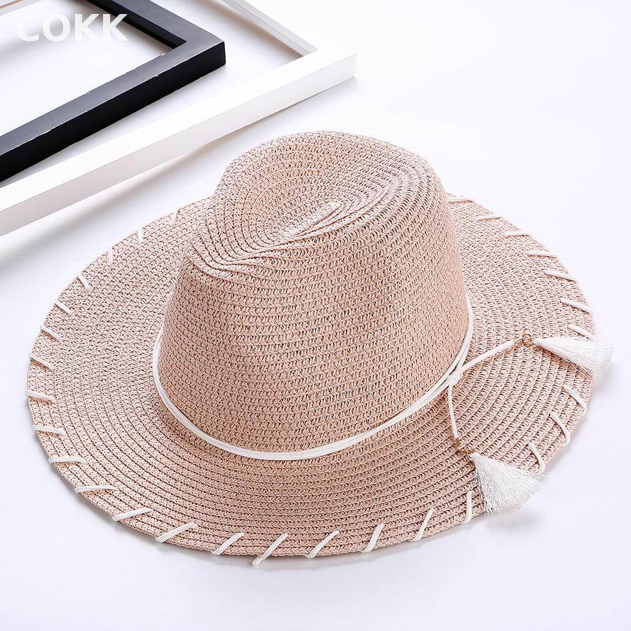 30e8560b50e COKK Summer Hats For Women Foldable Tassel Bow Large Wide Brim Straw Sun  Hat Beach Panama Hat Suncreen Sunhat Chapeau Femme-in Sun Hats from Apparel  ...